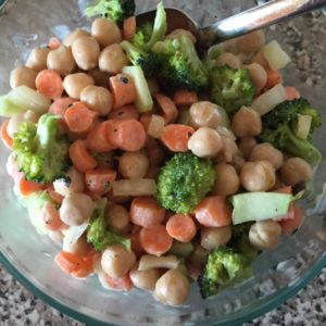 Chickpea, broccoli, carrot salad with mustard-mayo-olive oil-lemon dressing. Delicious!